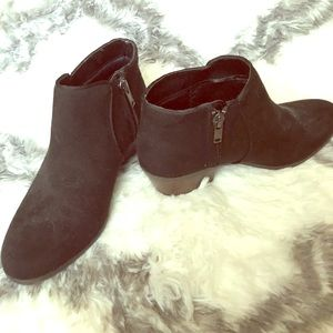 Faux Suede Booties with Brown Block 2 1/2 Heel